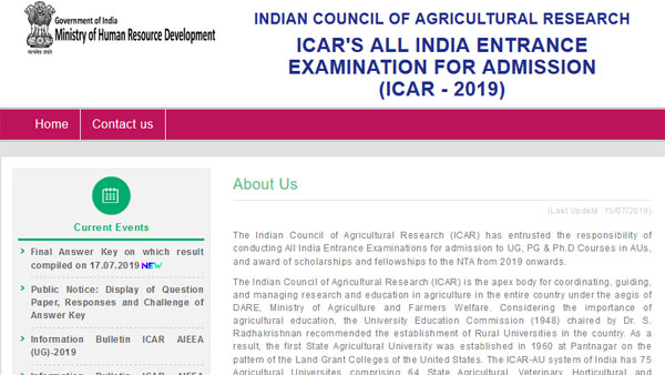 Direct links to check NTA ICAR AIEEA Results 2019