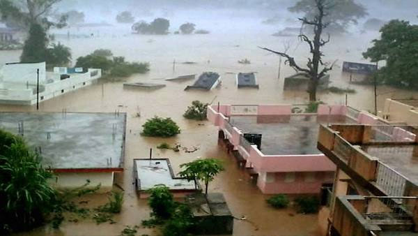 File photo of submerged buildings in Rishikesh (PTI image)