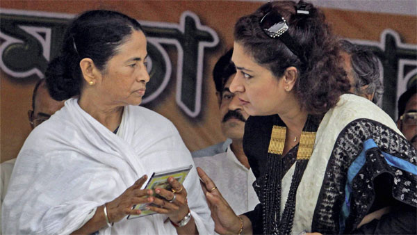 West Bengal Chief Minister and TMC chief Mamata Banerjee with actress and party leader Satabdi Roy