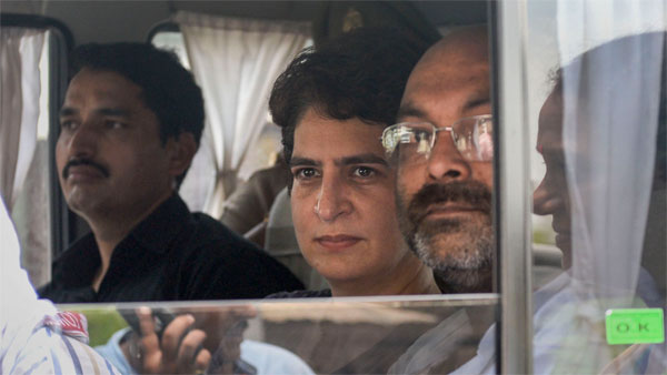 Congress General Secretary Priyanka Gandhi Vadra being taken in an official vehicle after being detained at Narayanpur, in Mirzapur