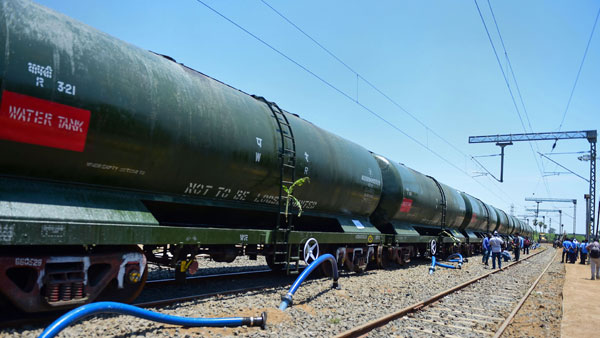 A train of 50 wagons filled with water from Jolarpet arrives at Chennai