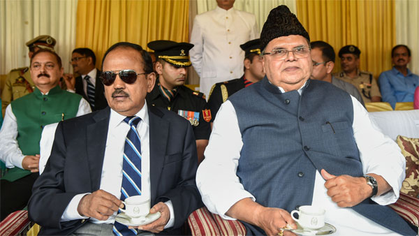Jammu and Kashmir Governor Satya Pal Malik with NSA Ajit Doval during a function on the occasion of 73rd Independence Day, at Sher-e-Kashmir Cricket Stadium, in Srinagar