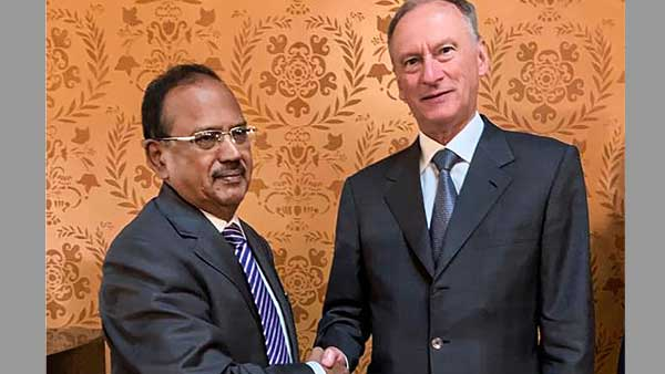 National Security Advisor Ajit Doval shakes hands with Nikolai Patrushev