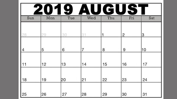 Important days and dates in August 2019