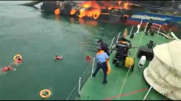 Massive fire engulfs Coast Guards vessel 'Coastal Jaguar', 28 rescued,1 missing