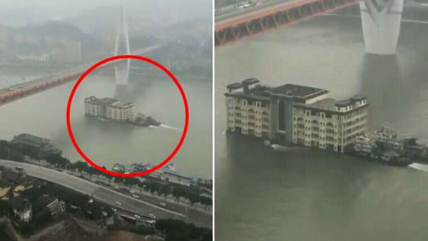 Watch: Five storey building floats on Yangtze river