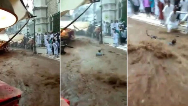 Video of Man swept away in gushing stream following heavy rains in Ajmer goes viral