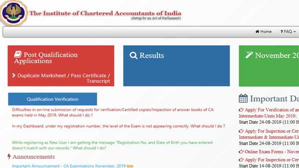 Direct link to check CA Inter result 2019