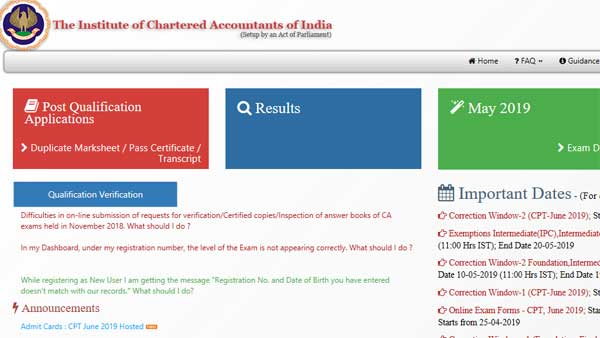Direct link and SMS number to check ICAI CA Final and Foundation result 2019