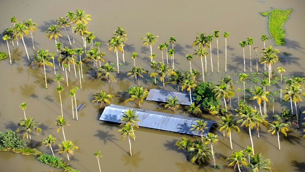 The flooded coastline in the north of Kochi, Kerala