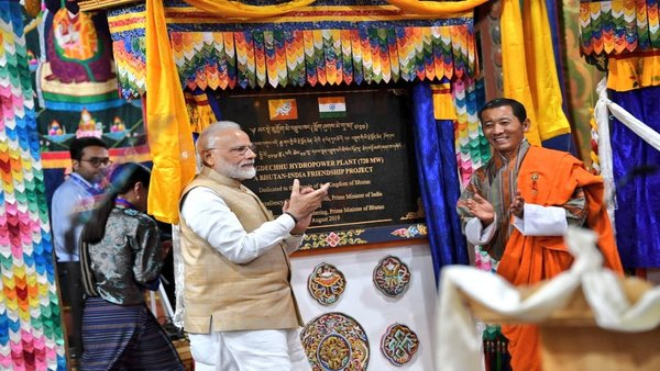 Modi inaugurates 720MW run-of-river power plant built on the Mangdechhu River in Trongsa Dzongkhag district of central Bhutan