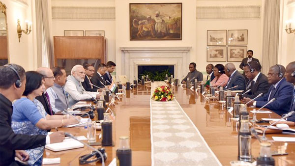 PM Modi holds delegation-level talks with President of Zambia Edgar Chagwa Lungu.