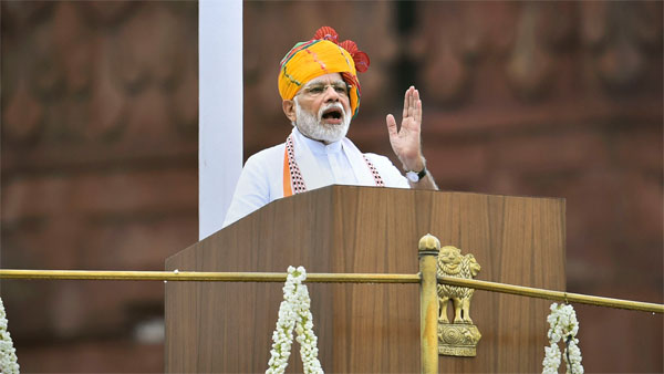 Prime Minister Narendra Modi addresses the nation from the ramparts of the historic Red Fort on the occasion of 73rd Independence Day