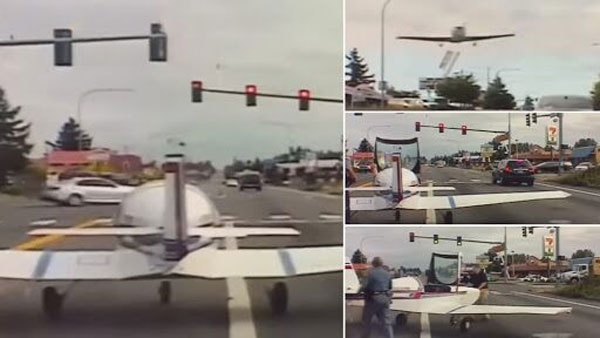 Video of dramatic landing by airplane on busy US road recorded on dashcam goes viral