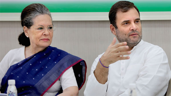 Rahul Gandhi with senior party leader Sonia Gandhi