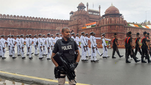 A police commando keeps vigil 73rd Independence Day function at the historic Red Fort