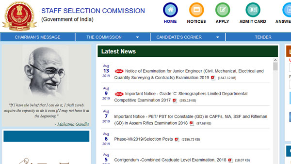 SSC Recruitment 2019 for Grade C: important notification