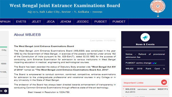 WBJEE JELET Result 2019 result declared, how to check