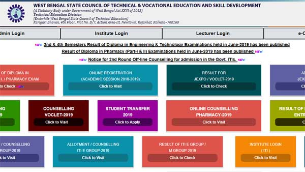 Direct link to check WBSCTE Diploma result 2019