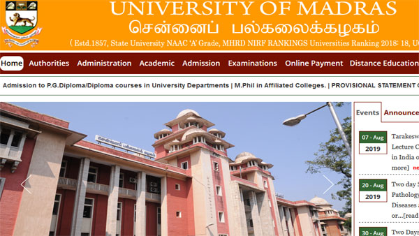 Direct link to check Madras University Result 2019