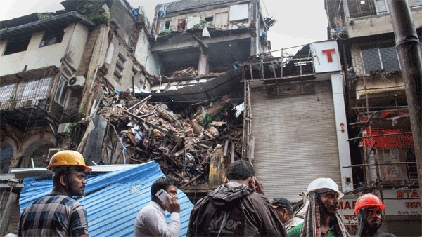 A portion of a four-storey building collapsed at Lokmanya Tilak Road, in Mumbai