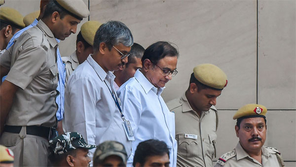 Congress leader and former finance minister P Chidambaram after being produced at Rouse Avenue Court in connection with INX media case, in New Delhi