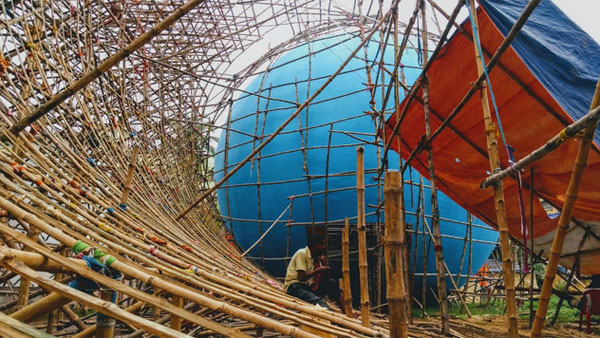 DumDum Park durga puja pandal work on progress