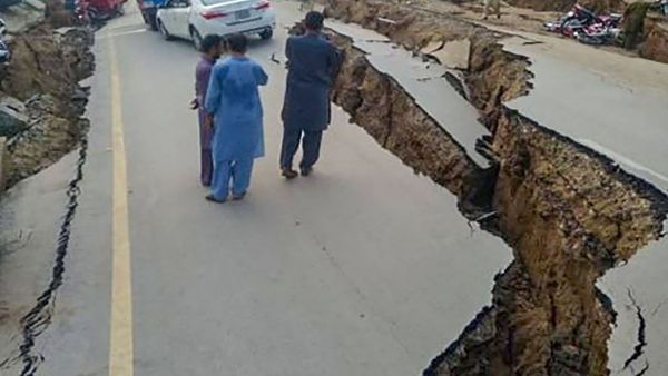 A view of damaged roads in Pakistan-occupied Kashmir