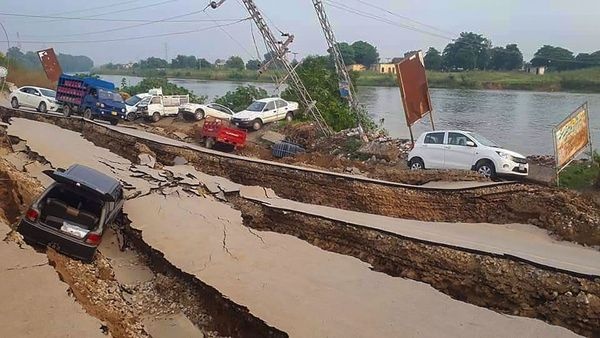 A view of damaged roads after a 5.8-magnitude earthquake rocked Pakistan-occupied Kashmir