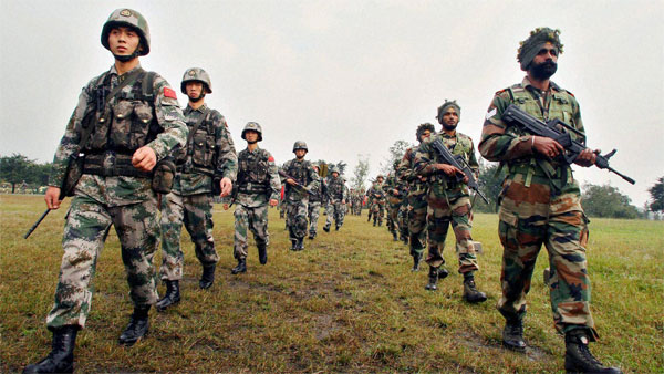 File photo of Indian and Chinese troops during their joint military exercise
