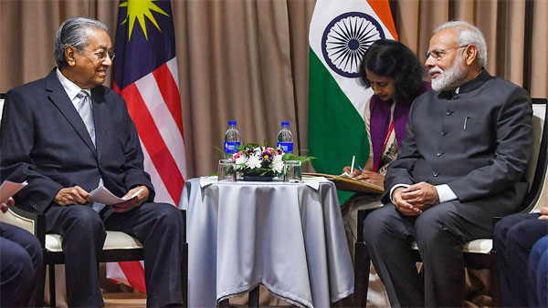 Prime Minister Narendra Modi during a meeting with his Malaysian counterpart Dr. Mahathir Mohamad