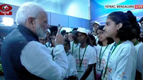 Modi interacts with students after connection with the Vikram lander was lost during soft landing of Chandrayaan 2