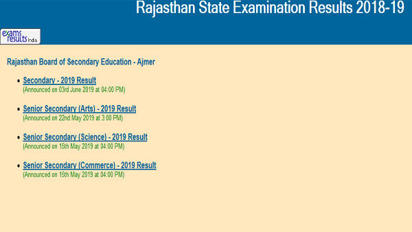 RBSE 10th supplementary result 2019 latest update on date, directlink to check