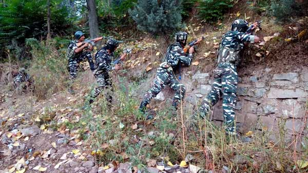 CRPF jawans during an encounter with the terrorists at Batote in Ramban district of Jammu and Kashmir