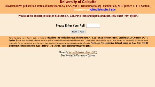 Direct link to check Calcutta University Result 2019 for BA, BSc 2nd year