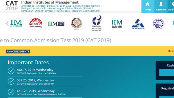 CAT 2019 Admit Card date, time confirmed: Website to download