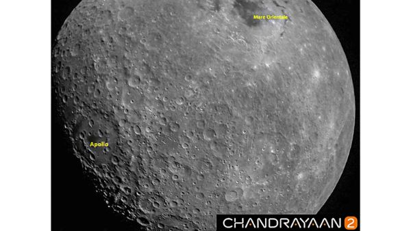 A view of the first Moon image captured by Chandrayaan 2
