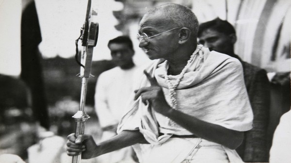file photo dated 1931, Mahatma Gandhi talks to a crowd