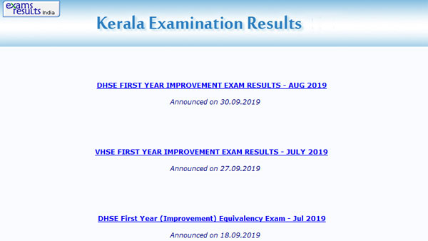 Direct link to check Kerala DHSE 2019 result