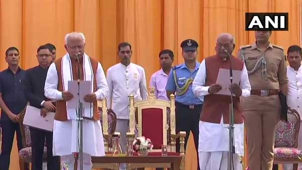 Manohar Lal Khattar takes oath as Haryana CM for second term, Dushyant Chautala as deputy CM
