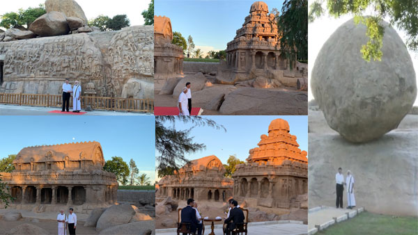 Dressed in traditional attire, PM gives Xi temple tour of Mamallapuram
