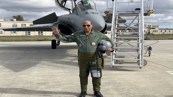 [Rajnath Singh receives first Rafale in France, takes sortie in the new fighter]