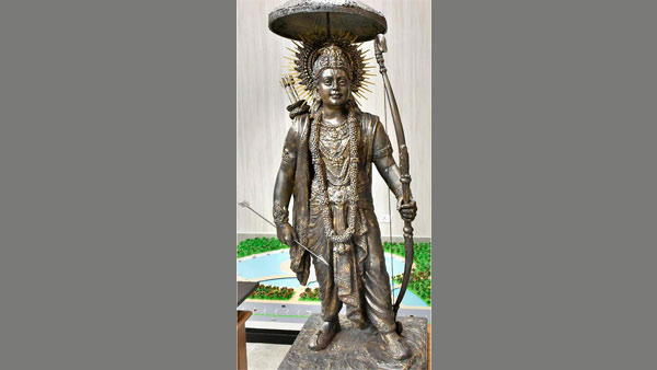 A look alike model of the proposed 221 metre statue of Lord Ram to be constructed in Ayodhya, released by a senior UP government official, in Ayodhya