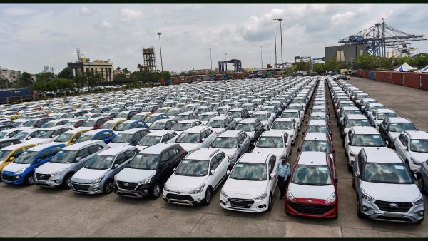 Cars parked in a dock at the Chennai Port