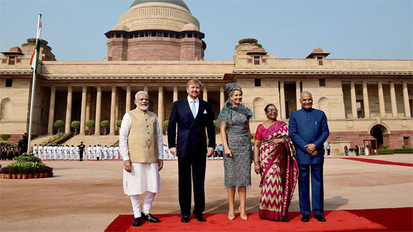 Dutch King and Queen with President Ram Nath Kovind and Prime Minister Narendra Modi