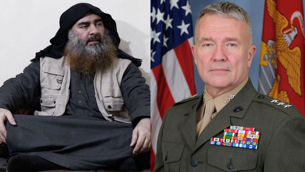 File photo of Abu Bakr al-Baghdadi and US Central Command, General Kenneth McKenzie