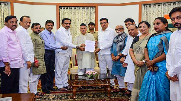 A joint delegation of the Congress and Nationalist Congress Party (NCP) leaders meet Maharashtra Governor Bhagat Singh Koshyari at Raj Bhavan