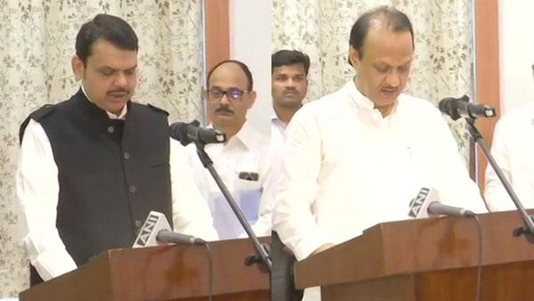 Fadnavis takes oath as Maharashtra CM, Ajit Pawar as deputy
