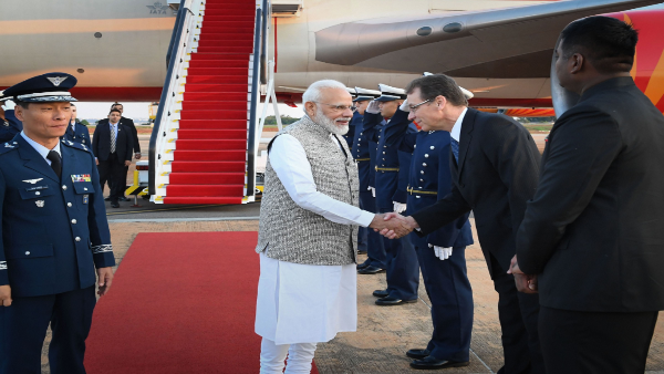 PM Modi being received on his arrival at Brasilia