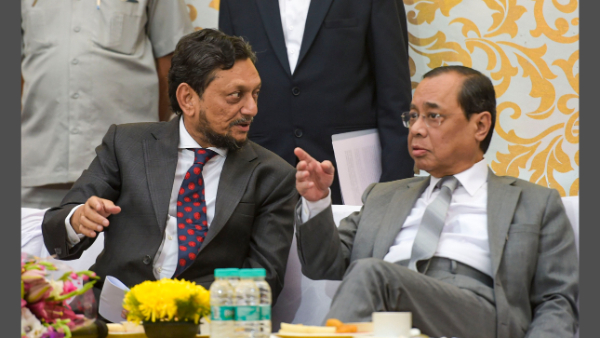 Justice Gogoi with Justice Sharad Arvind Bobde, who will be the next CJI